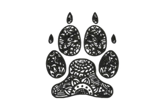 Zentangle Dog Paw Print Zentangle Embroidery Design By Embroidery Designs - Image 1