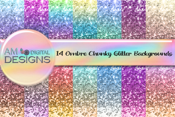 Print on Demand: 14 Chunky Ombre Gradient Glitter Graphic Print Templates By AM Digital Designs
