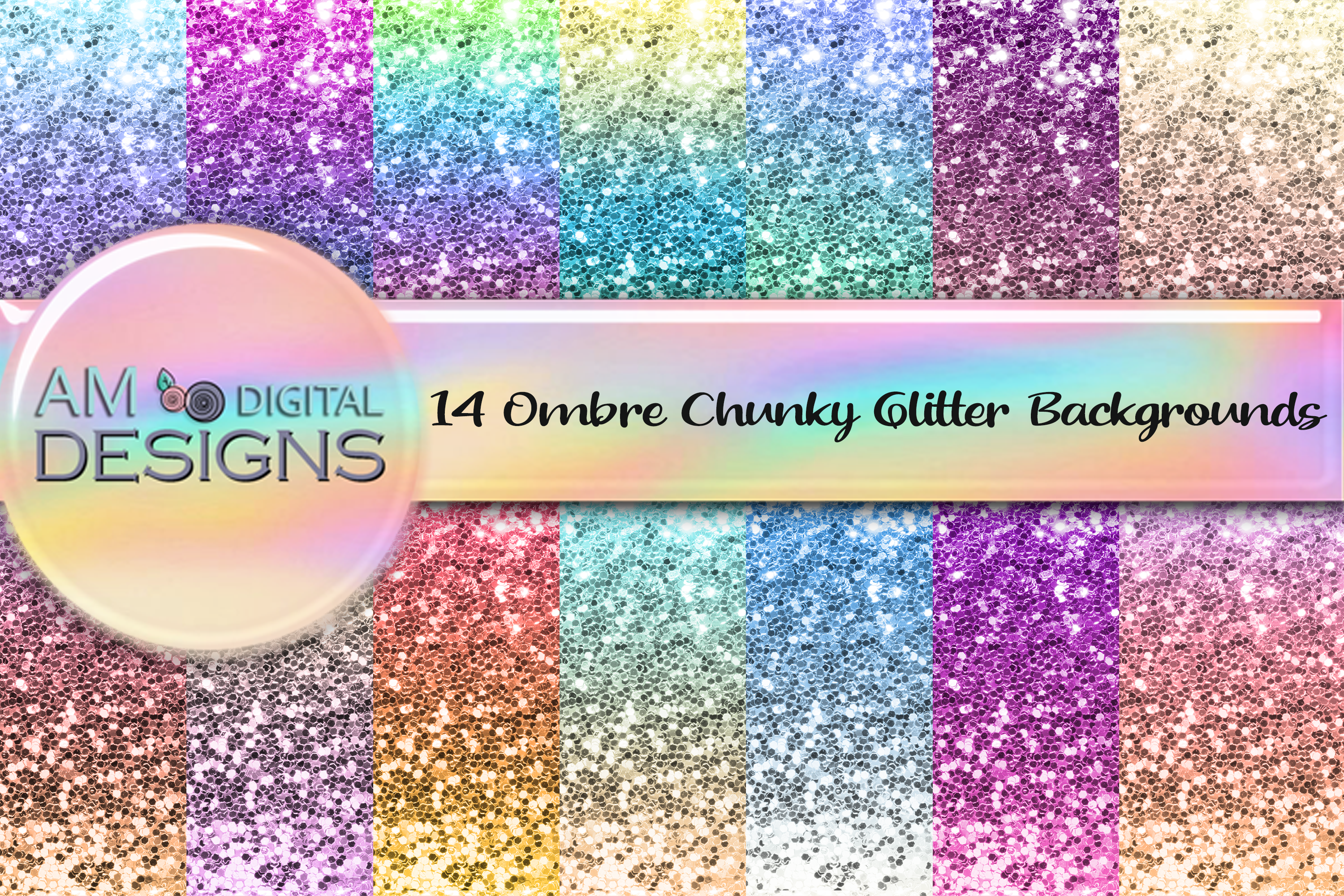 Download Free 14 Chunky Ombre Gradient Glitter Graphic By Am Digital Designs for Cricut Explore, Silhouette and other cutting machines.