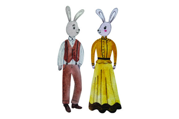 Bunny in Formal Attire - Watercolor Easter Craft Cut File By Creative Fabrica Crafts