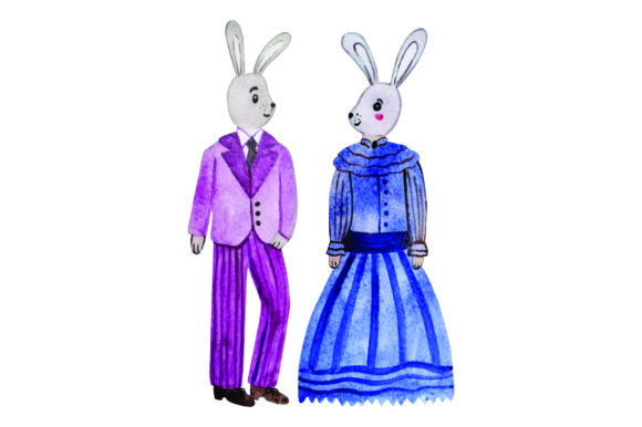 Bunny in Formal Attire Purple and Blue - Watercolor Easter Craft Cut File By Creative Fabrica Crafts