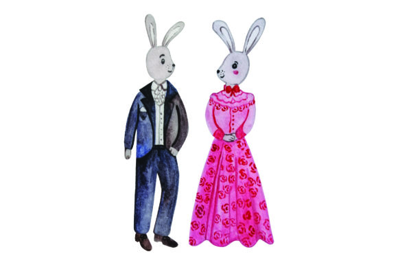 Bunny in Formal Attire Purple and Red - Watercolor Easter Craft Cut File By Creative Fabrica Crafts