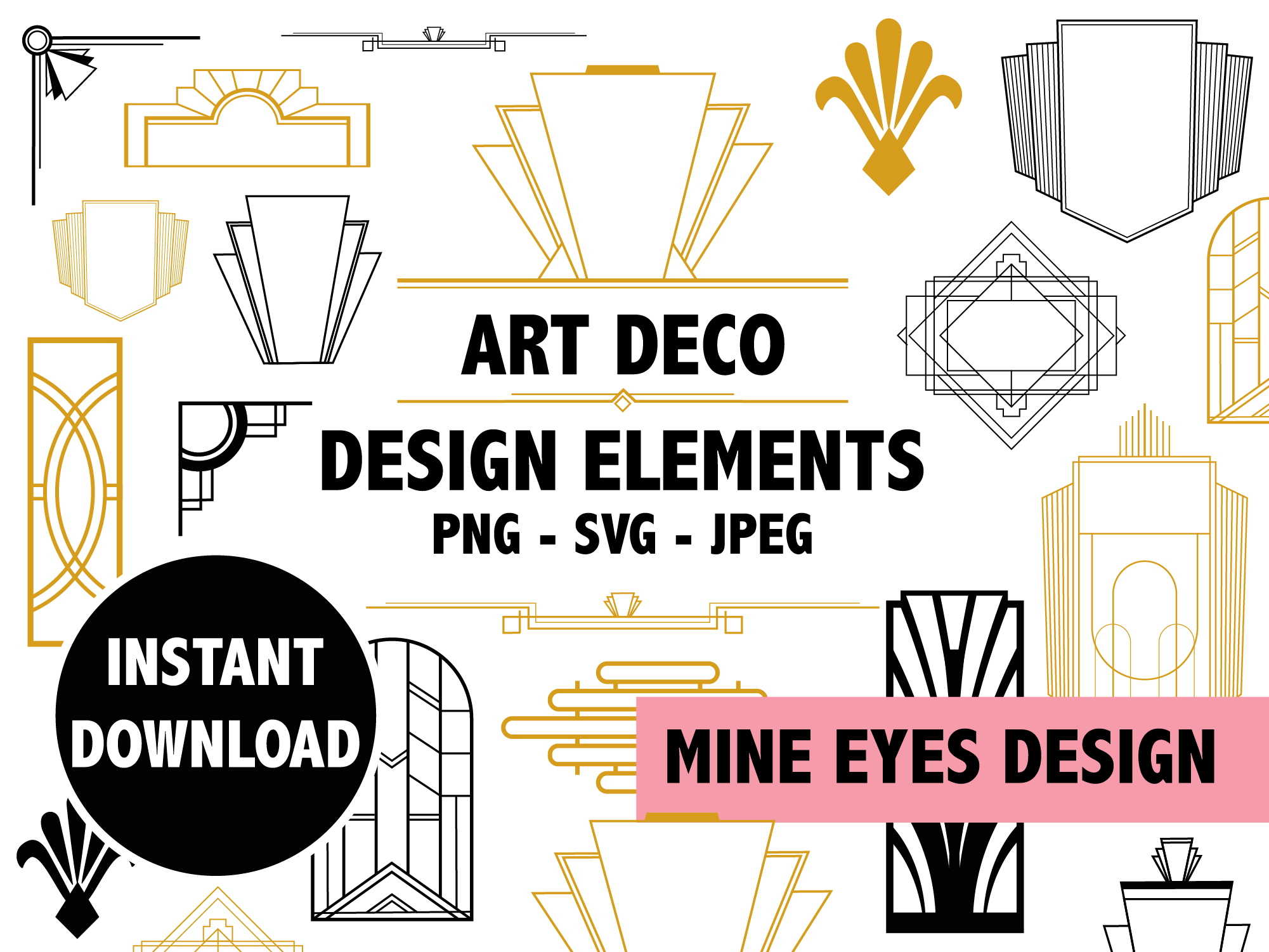 Download Free Art Deco Design Elements Graphic By Mine Eyes Design Creative for Cricut Explore, Silhouette and other cutting machines.