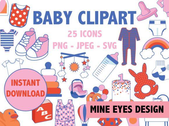 Print on Demand: Baby Clipart Graphic Illustrations By Mine Eyes Design