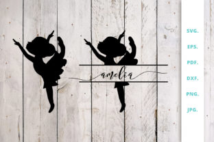 Download Free Ballerina Silhouette And Split Monogram 1 Graphic By Sintegra for Cricut Explore, Silhouette and other cutting machines.