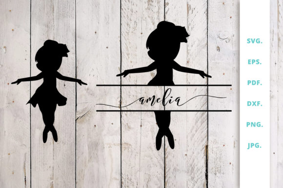 Download Free Ballerina Silhouette And Split Monogram 3 Graphic By Sintegra for Cricut Explore, Silhouette and other cutting machines.