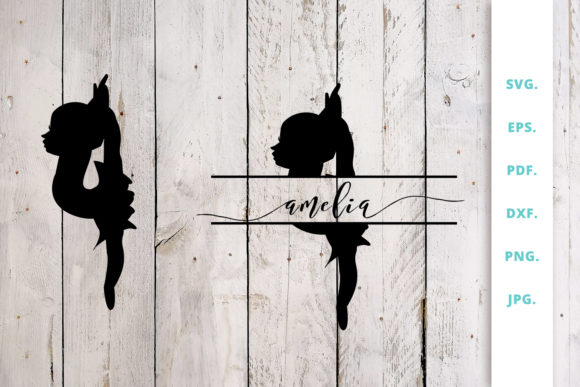 Download Free Ballerina Silhouette And Split Monogram 5 Graphic By Sintegra for Cricut Explore, Silhouette and other cutting machines.