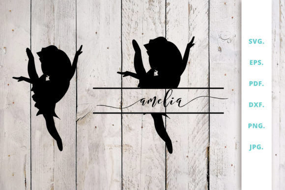 Download Free Ballerina Silhouette And Split Monogram 6 Graphic By Sintegra for Cricut Explore, Silhouette and other cutting machines.