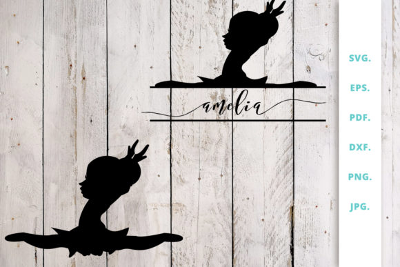 Download Free Ballerina Silhouette And Split Monogram 7 Graphic By Sintegra for Cricut Explore, Silhouette and other cutting machines.