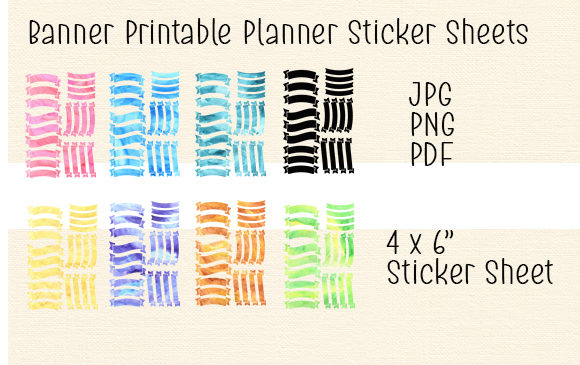 Download Free Banner Printable Planner Sticker Sheets Graphic By Kathryn for Cricut Explore, Silhouette and other cutting machines.