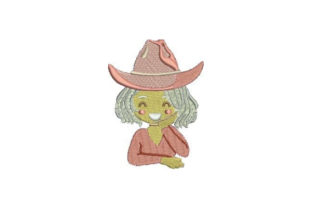 Blonde with Cowboy Hat Cowboy & Cowgirl Embroidery Design By Embroidery Designs