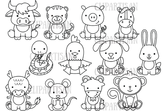 Chinese New Year Zodiac Animals Graphic Illustrations By ClipArtisan
