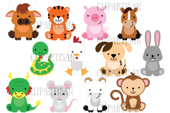 Chinese Zodiac Animals Graphic Illustrations By ClipArtisan