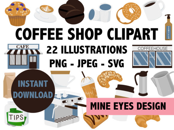 Print on Demand: Coffee Shop Clipart Gráfico Ilustraciones Por Mine Eyes Design