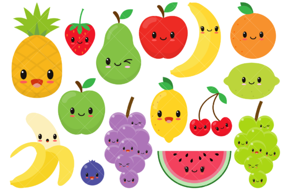 Cute Fruit Clipart Graphic Illustrations By ClipArtisan