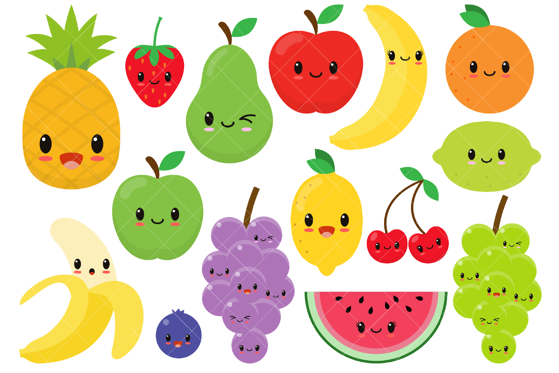 Download Free Cute Fruit Clipart Graphic By Clipartisan Creative Fabrica for Cricut Explore, Silhouette and other cutting machines.