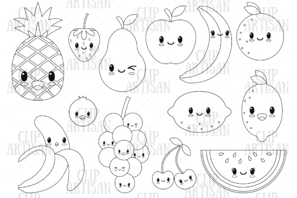 Cute Fruit Digital Stamp Graphic Coloring Pages & Books Kids By ClipArtisan