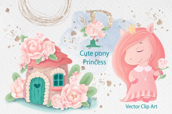 Print on Demand: Cute Pony Princess Gráfico Ilustraciones Por nicjulia