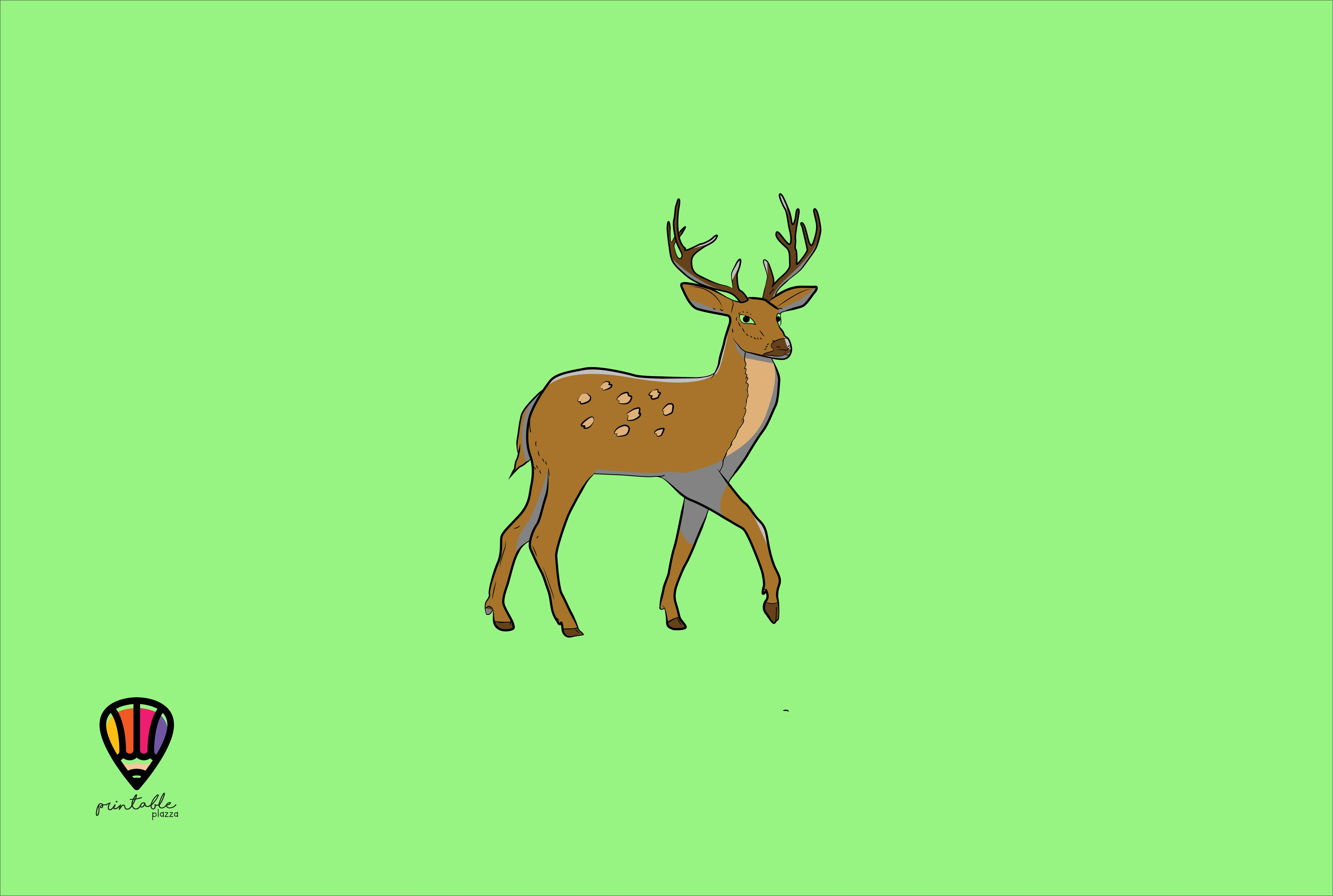 Download Free Deer Graphic By Printablesplazza Creative Fabrica for Cricut Explore, Silhouette and other cutting machines.
