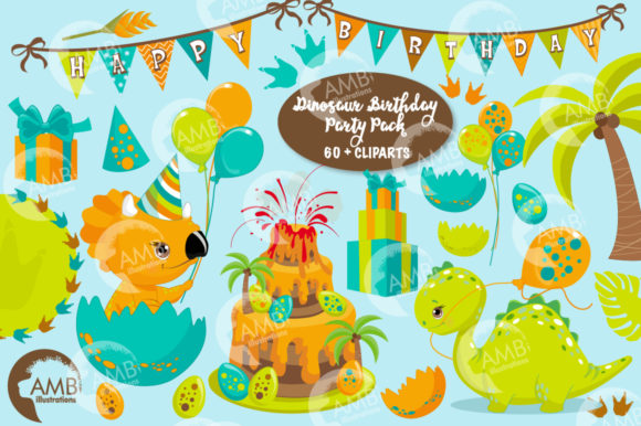 Download Free Dinosaur Birthday Party Clipart 2701 Graphic By Ambillustrations for Cricut Explore, Silhouette and other cutting machines.