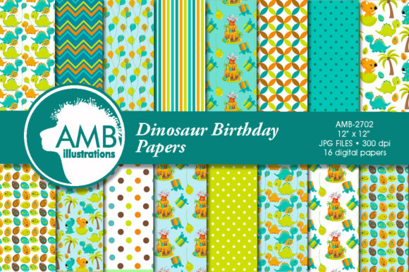 Dinosaur Birthday Party Pattern AMB-2702 Graphic Patterns By AMBillustrations