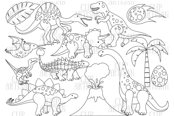 Dinosaurs Digital Stamp Graphic Coloring Pages & Books Kids By ClipArtisan - Image 1