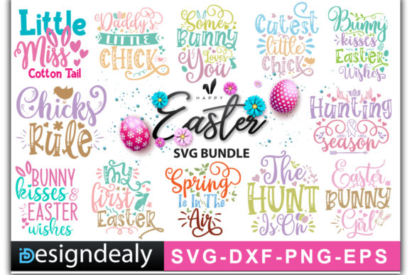Print on Demand: Easter Bundle Quotes Gráfico Plantillas para Impresión Por Designdealy.com