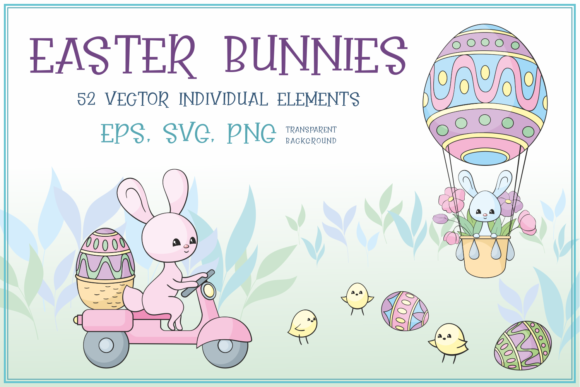 Print on Demand: Easter Bunnies. Vector Clip Arts Graphic Illustrations By Olga Belova
