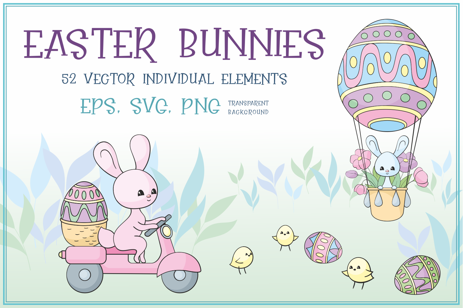 Download Free Easter Bunnies Vector Clip Arts Graphic By Olga Belova Creative Fabrica for Cricut Explore, Silhouette and other cutting machines.