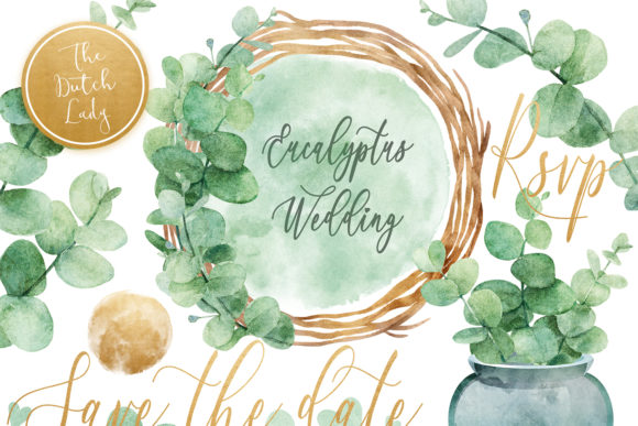 Print on Demand: Eucalyptus Wedding Card Clipart Set Gráfico Ilustraciones Por daphnepopuliers