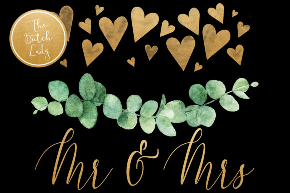 Print on Demand: Eucalyptus Wedding Card Clipart Set Graphic Illustrations By daphnepopuliers - Image 2
