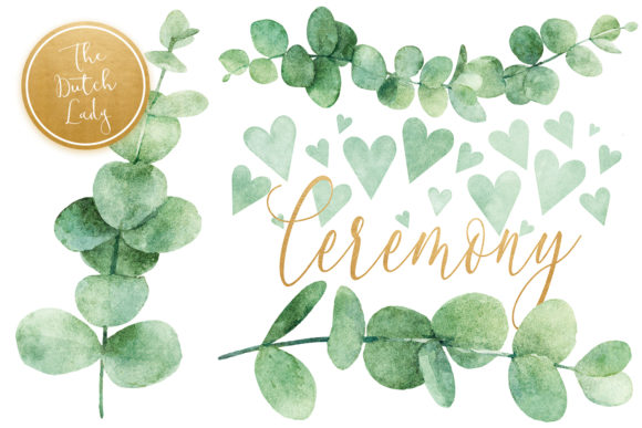 Print on Demand: Eucalyptus Wedding Card Clipart Set Graphic Illustrations By daphnepopuliers - Image 5