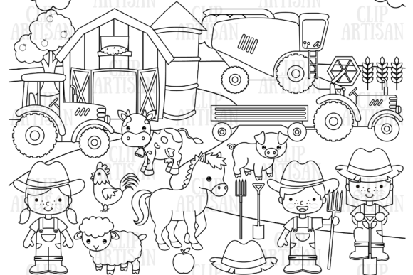 Farm Animals Digital Stamp Graphic Coloring Pages & Books Kids By ClipArtisan - Image 1