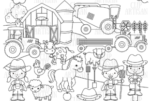 Farm Animals Digital Stamp Graphic Coloring Pages & Books Kids By ClipArtisan