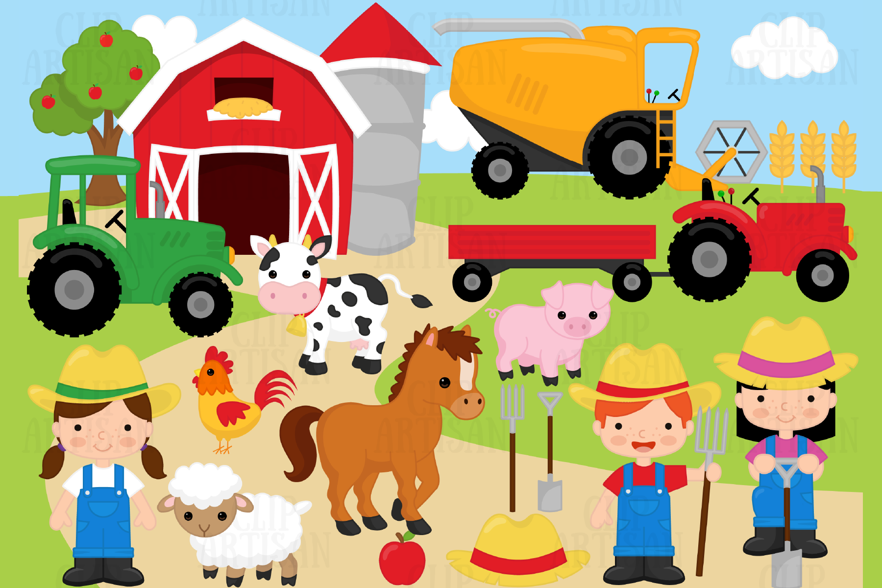 Download Free Farm Animals Grafico Por Clipartisan Creative Fabrica for Cricut Explore, Silhouette and other cutting machines.