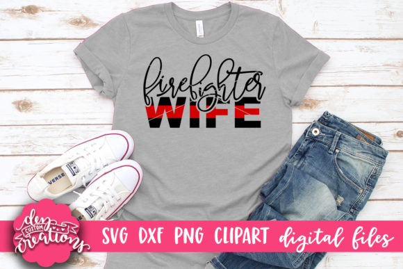 Download Free Firefighter Wife Thin Red Line Graphic By Dez Custom Creations for Cricut Explore, Silhouette and other cutting machines.