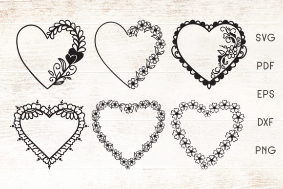 Download Free Floral Heart Frames Vector Graphic By Dasagani Creative Fabrica for Cricut Explore, Silhouette and other cutting machines.