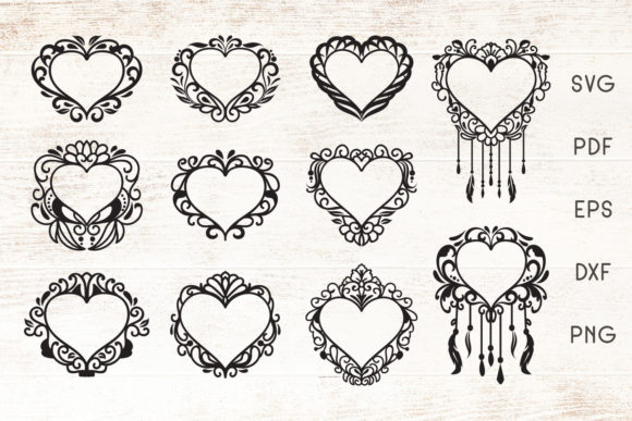 Print on Demand: Floral Heart Frames - Vector Graphic Crafts By Dasagani