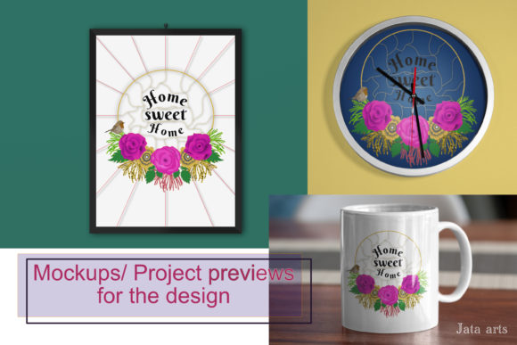 Floral Home Sweet Home Graphic Illustrations By JATA Arts