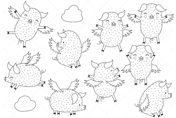 Flying Pigs Graphic Coloring Pages & Books Kids By ClipArtisan - Image 1