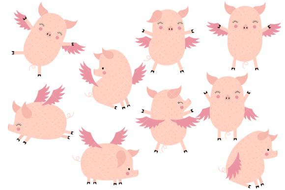 Flying Pigs Graphic Illustrations By ClipArtisan