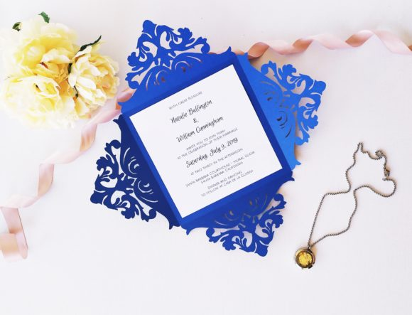 Download Free Four Fold Square Wedding Invitation Graphic By Sadovichdesign for Cricut Explore, Silhouette and other cutting machines.