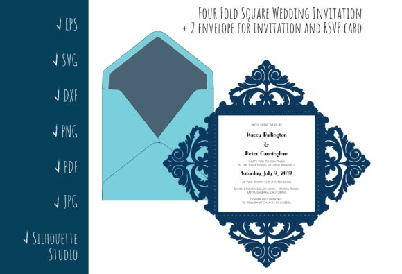 Four Fold Square Wedding Invitation Graphic Crafts By sadovichdesign