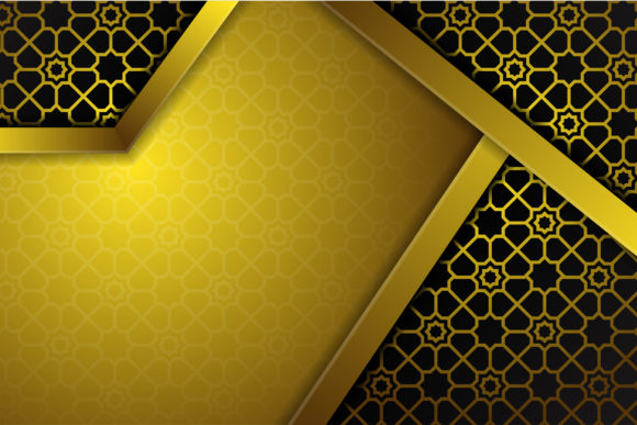 Print on Demand: Gold Black Islamic Pattern Background Graphic Backgrounds By noory.shopper