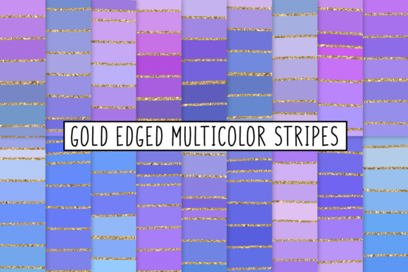 Print on Demand: Gold Edged Multicolor Stripes Graphic Textures By JulieCampbellDesigns