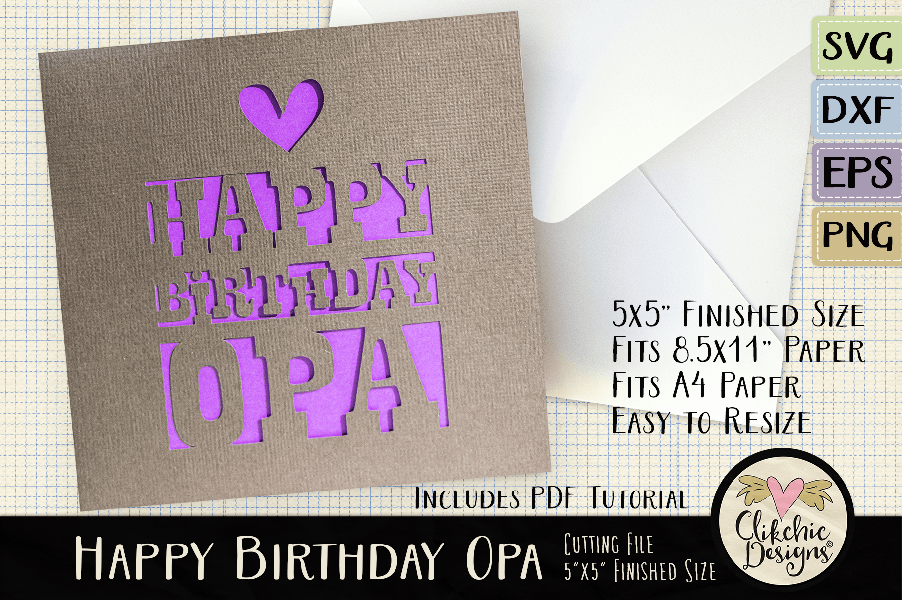 Happy Birthday Opa Card Cutting File Graphic By Clikchicdesigns