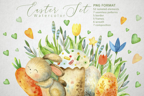 Print on Demand: Happy Easter Watercolor Set Graphic Illustrations By By Anna Sokol