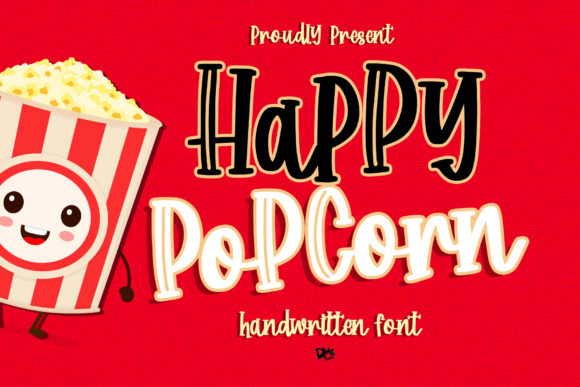 Print on Demand: Happy Popcorn Script & Handwritten Font By dmletter31
