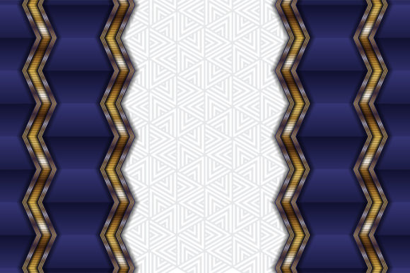 Print on Demand: Horizontal Purple Gold Zig Zag Pattern Graphic Backgrounds By noory.shopper