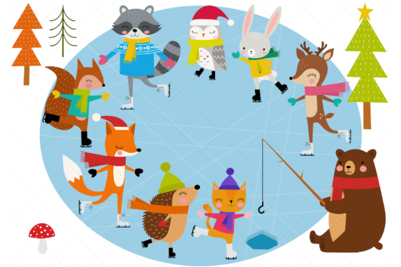 Ice Skating Animals Graphic Illustrations By ClipArtisan
